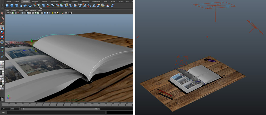 Screenshots from the setup in Maya