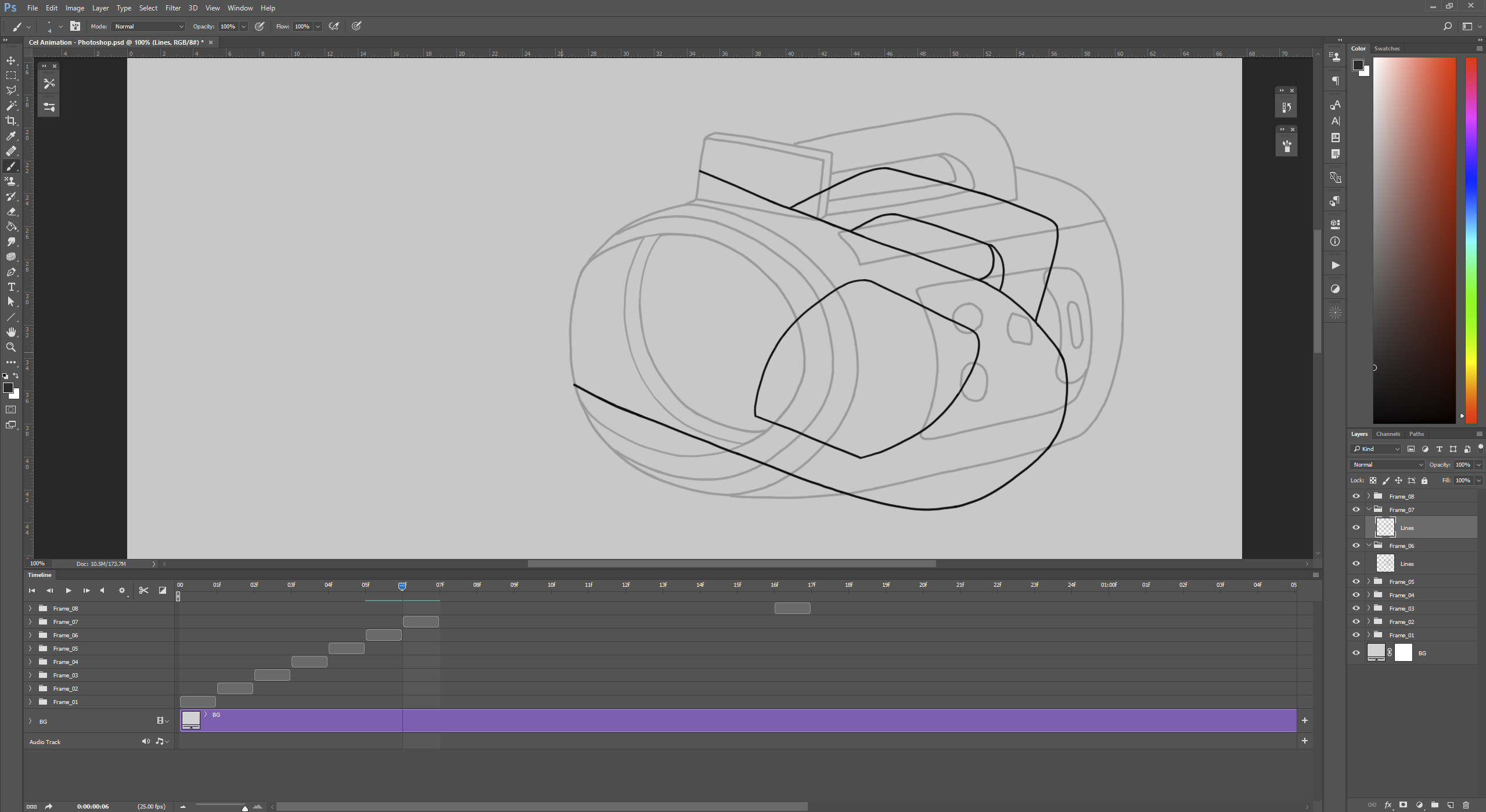 One Line Art Animation : Side project cel animation in photoshop no magnolia